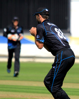 Grant Elliott takes a catch to dismiss Lokuge Chandimal